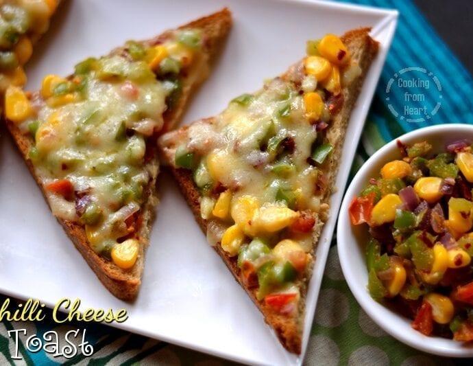 Chilli Cheese Toast | Veggie Chilli Cheese Toast