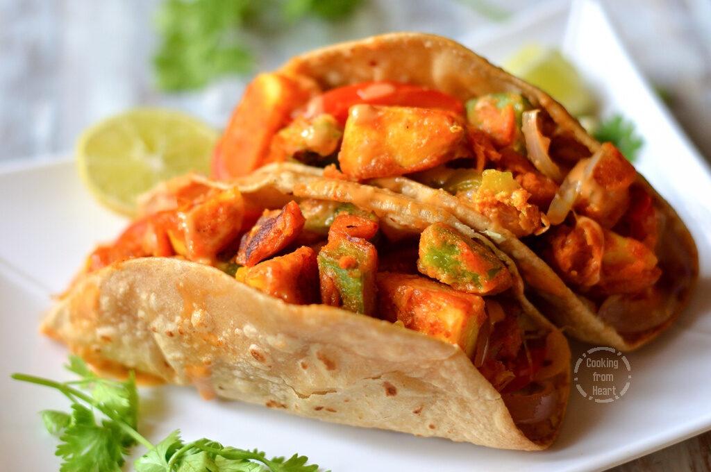 Homemade Whole Wheat Paneer Tikka Tacos