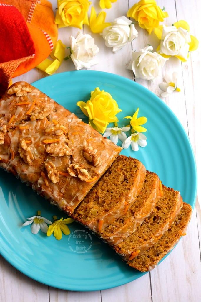 Eggless Whole Wheat Carrot Walnut Cake