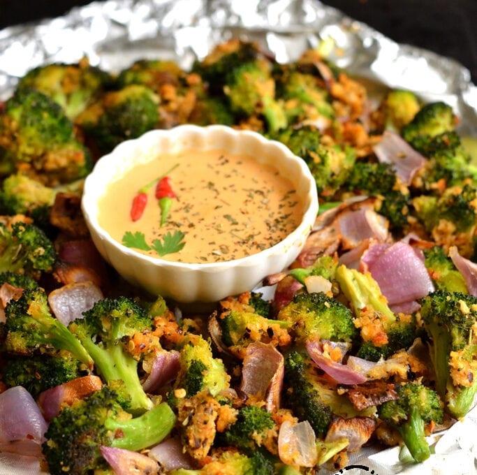 Crispy Garlic Roasted Broccoli | Low Calorie Broccoli Roast