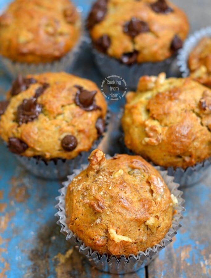 Eggless Banana Walnut Muffins